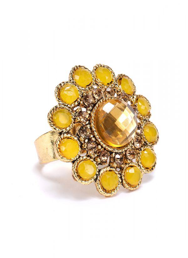 Yellow Stone Finger Ring