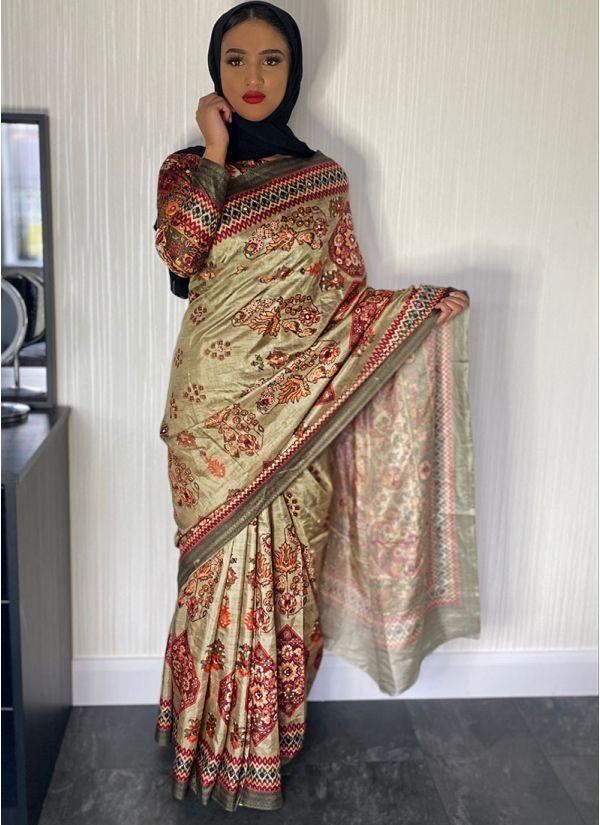 Green Traditional Print Saree