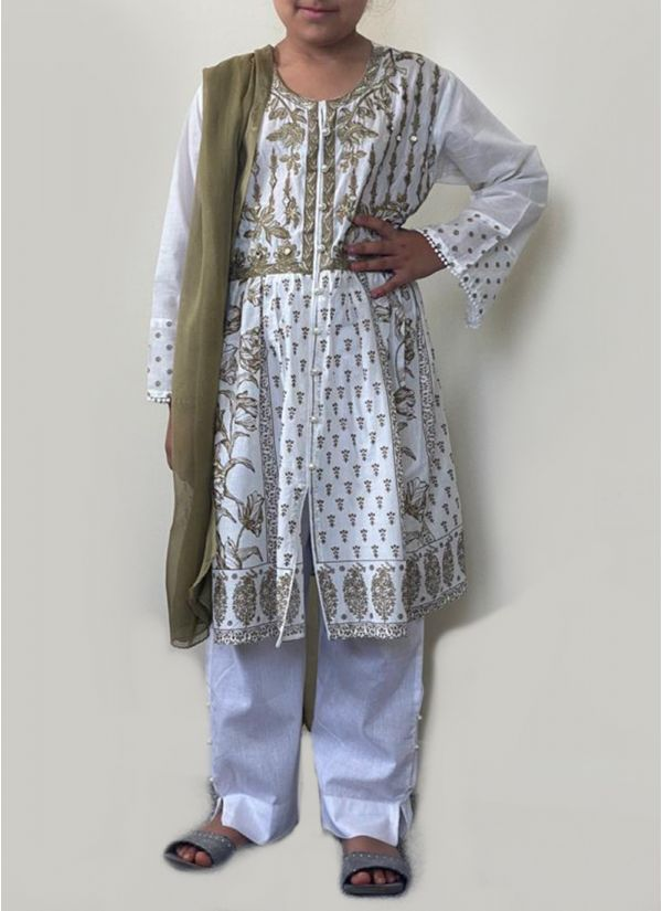 Kids White & Gold Embroidered Suit