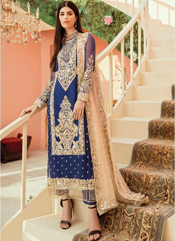 Navy Blue Embroidered Suit
