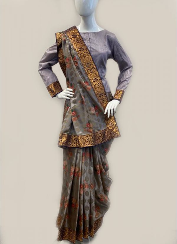 Lilac jacquard Silk Saree