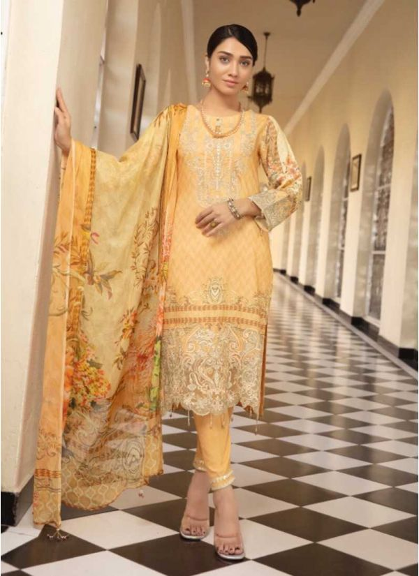 Yellow Embroidered Wool Pant Suit