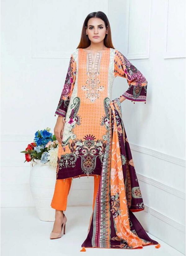 Peach Printed and Embroidered Lawn Suit