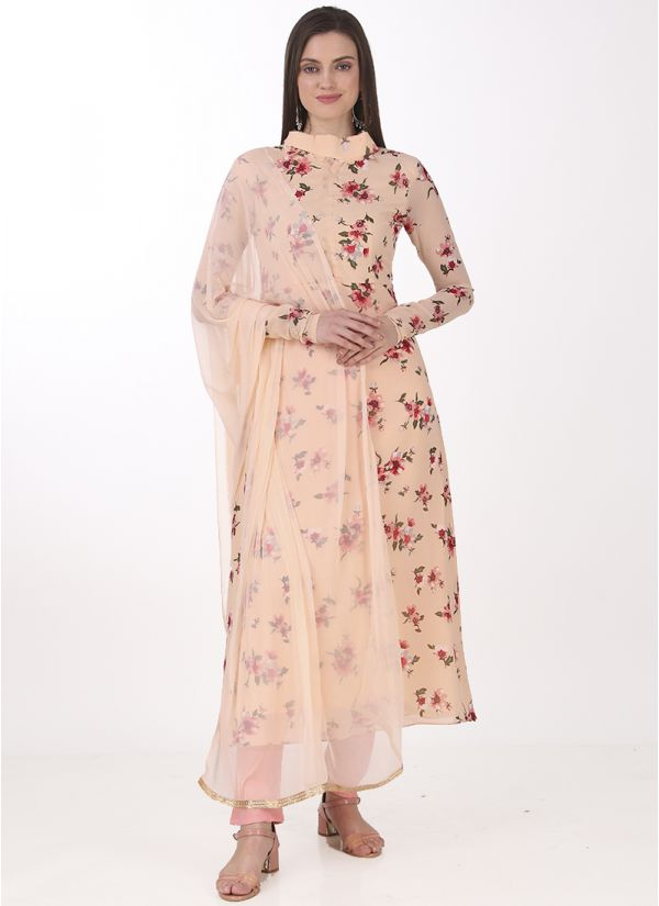 Light Pink Georgette A-line Suit