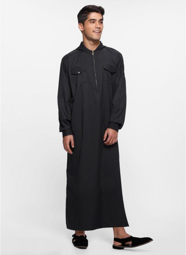 Hooded Black Zipper Juba