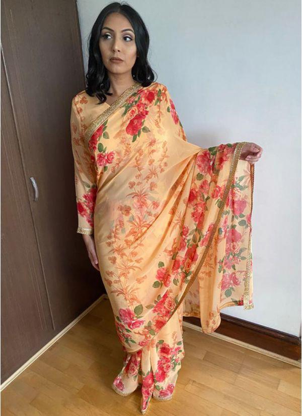 Peach Floral Print Saree