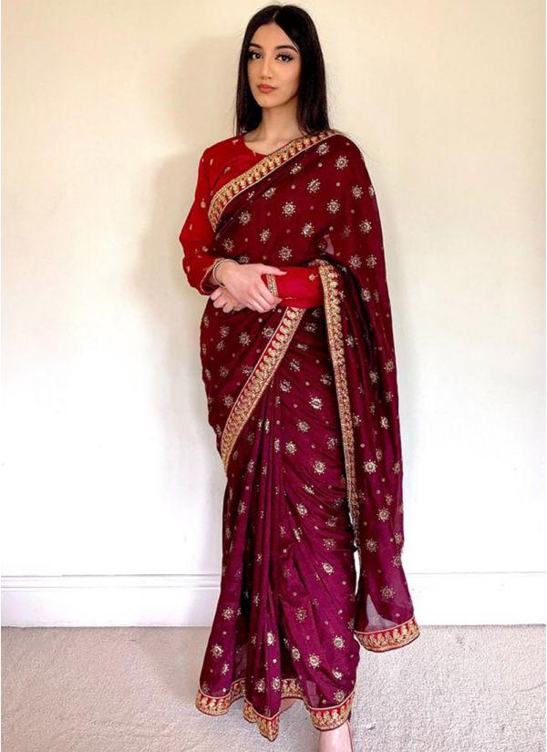 Plum Silk Embroidery Saree