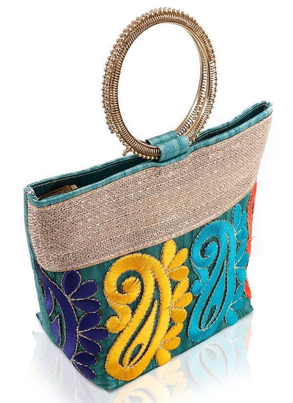 Paisley Embroidered Hand Clutch