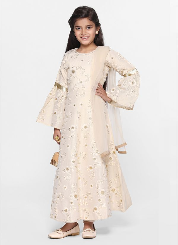Classic Embroidered Ivory Silk Flow Suit