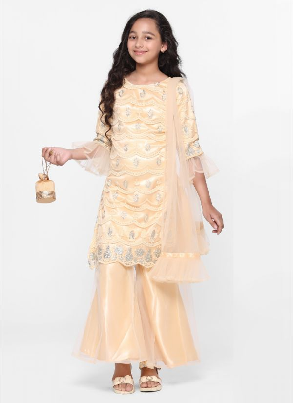 Contemporary Embroidered Sharara Set