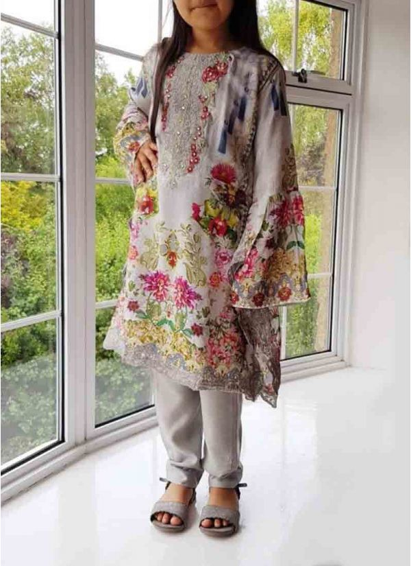 Kids White Printed & Embroidered Suit