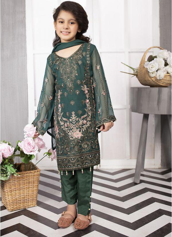 Kids Dark Green Embroidered Chiffon Suit Set