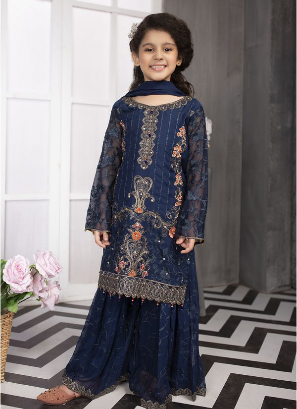 Kids Royal Blue Emroidered Chiffon Sharara Set