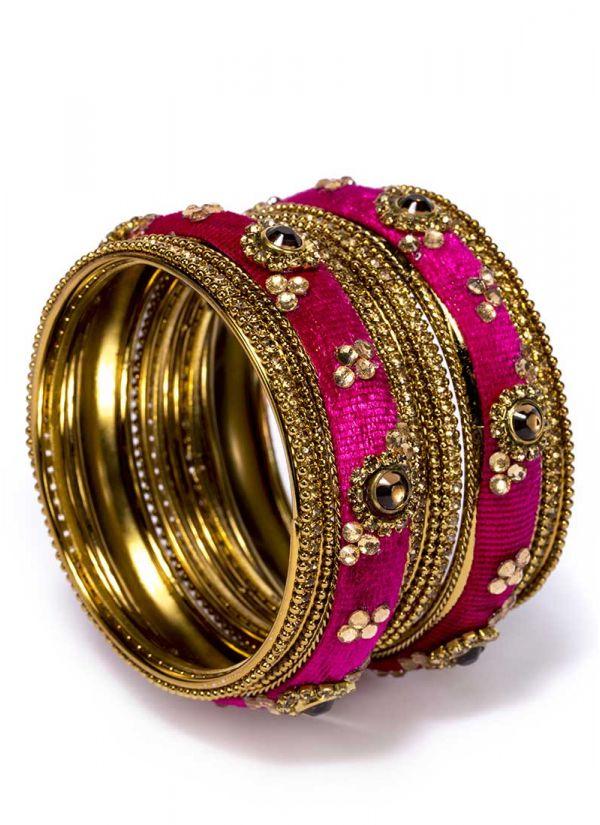 Pink Velvet Bangle Set