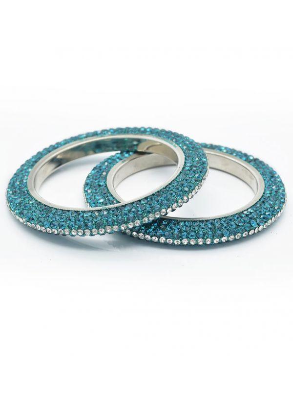 Ornate Crystal Bangle Set