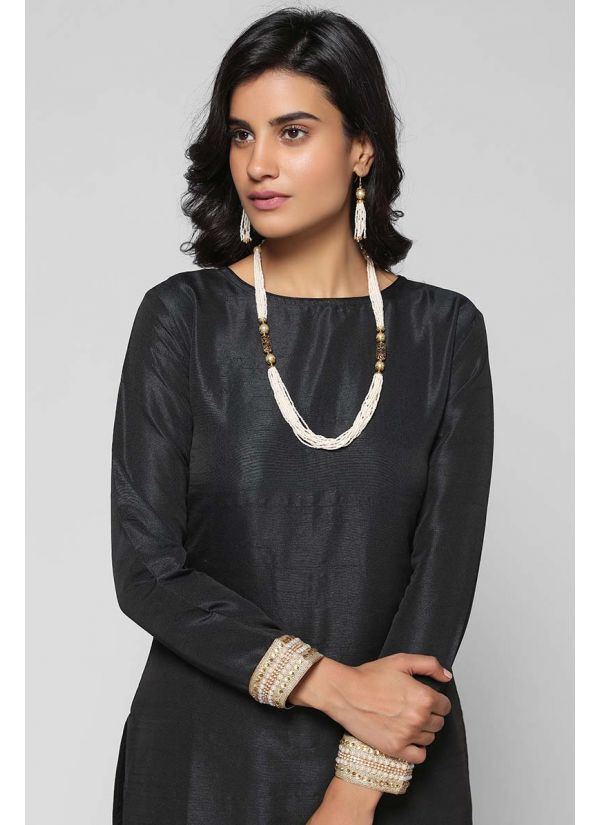 Pearl Multi-layered Necklace & Earrings Set
