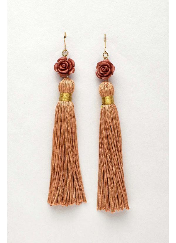 Rose Flower Tassel Earrings
