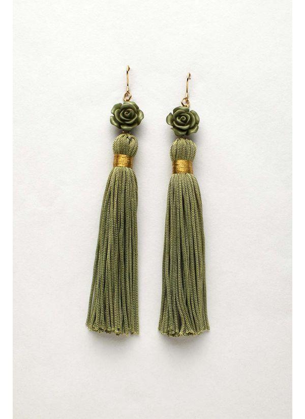 Olive Flower Tassel Earrings