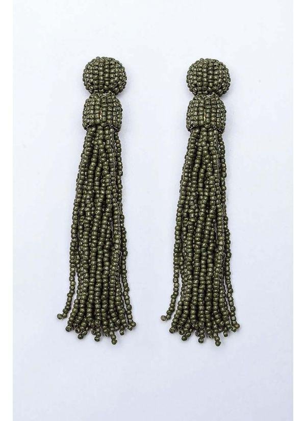 Olive Beaded Tassel Earrings