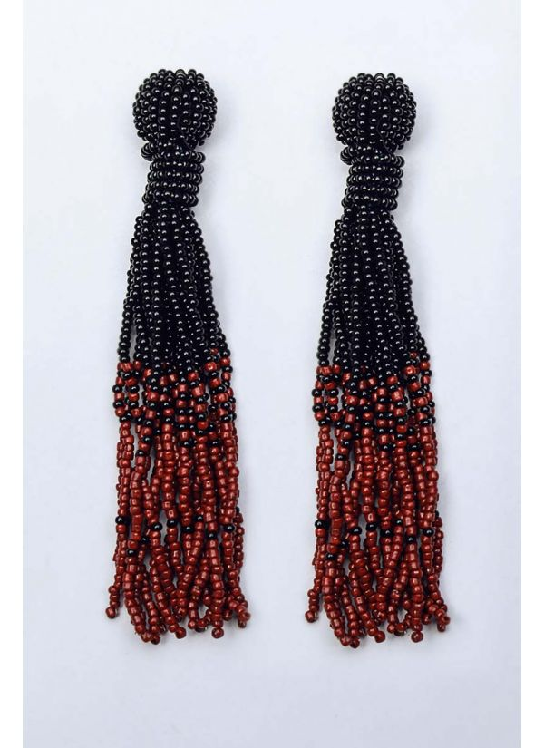 Black & Wine Ombre Chandelier Earrings