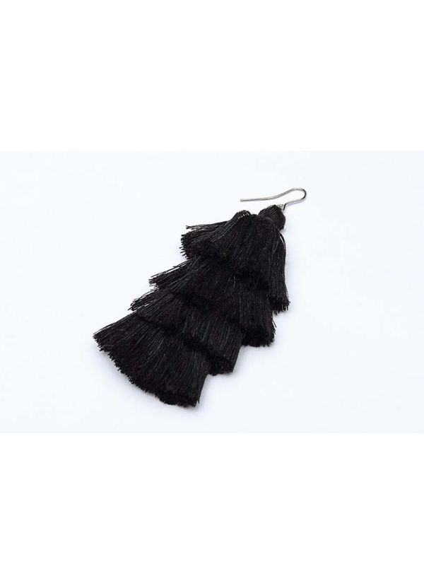 Black Tassel Cascade Earrings