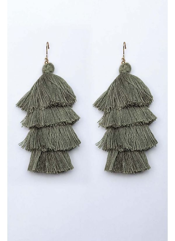 Olive Tassel Cascade Earrings