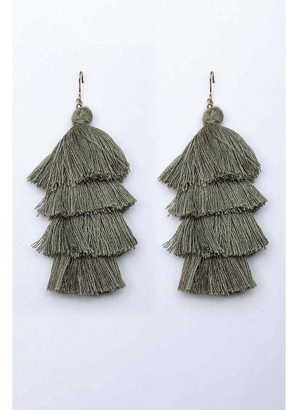Olive Tassel Cascade Earrings