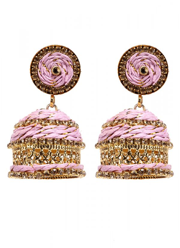 Pink And Gold Resham Threaded Jhumkis