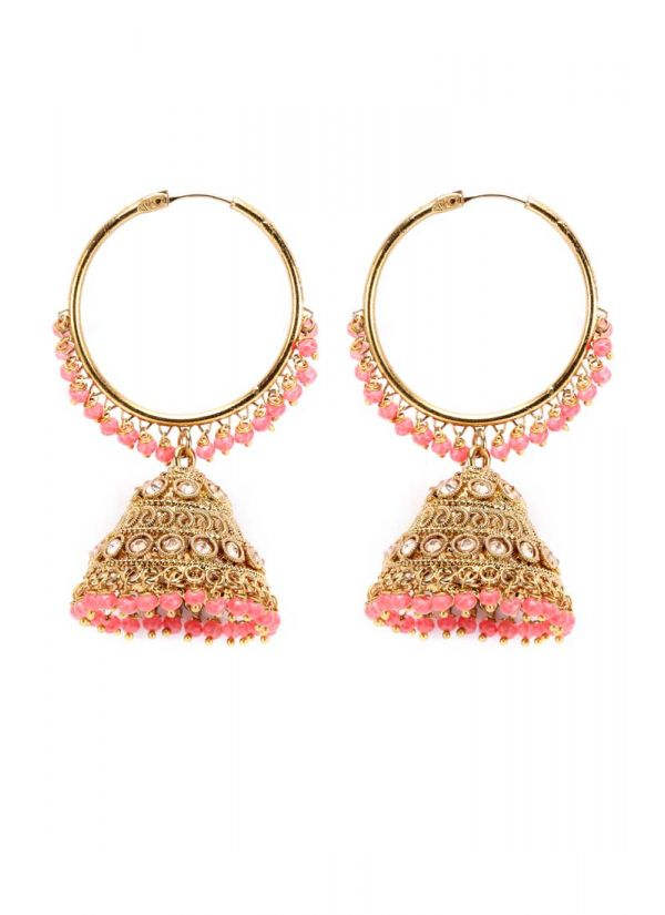 Peach Drop And Gold Jaal Earrings