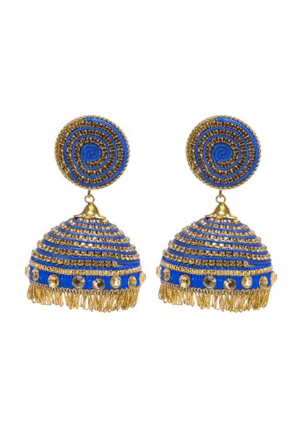 Navy Mirror And Thread Jhumkis