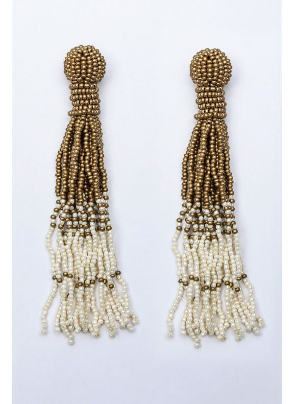 Ivory & Gold Ombre Chandelier Earrings