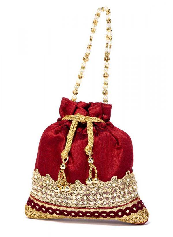 Maroon Dupion Bag