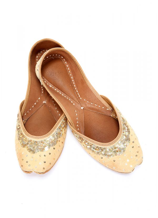 Sequin Highlighted Gold Jutti