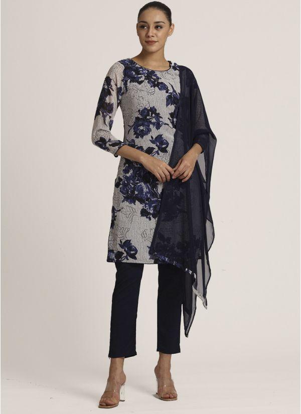 Blue Floral Printed Suit Set