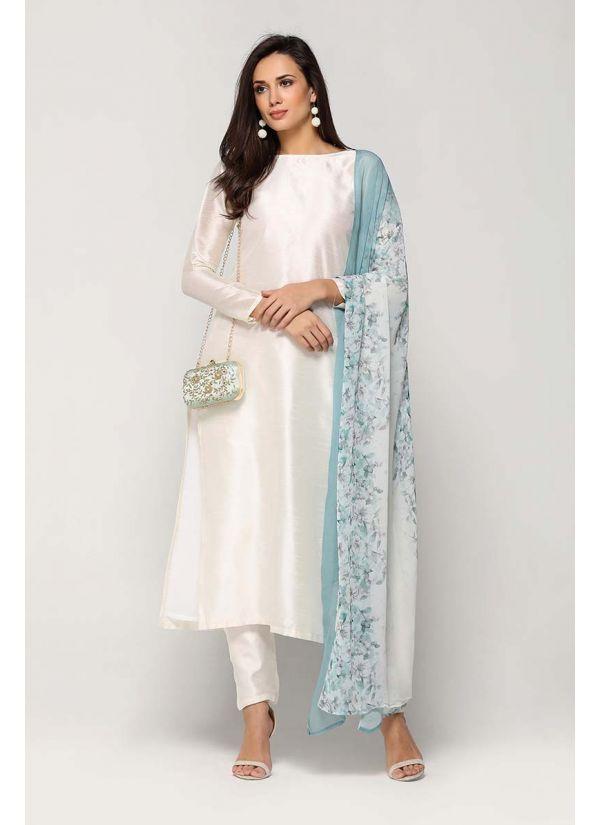 Snowy Silk Floret Print Dress