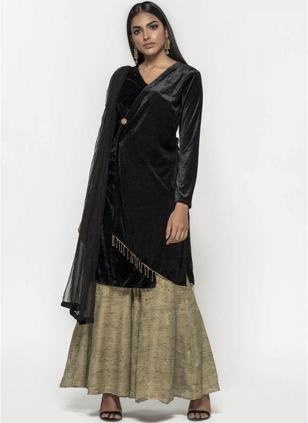 Asymmetric Velvet & Jute Dress