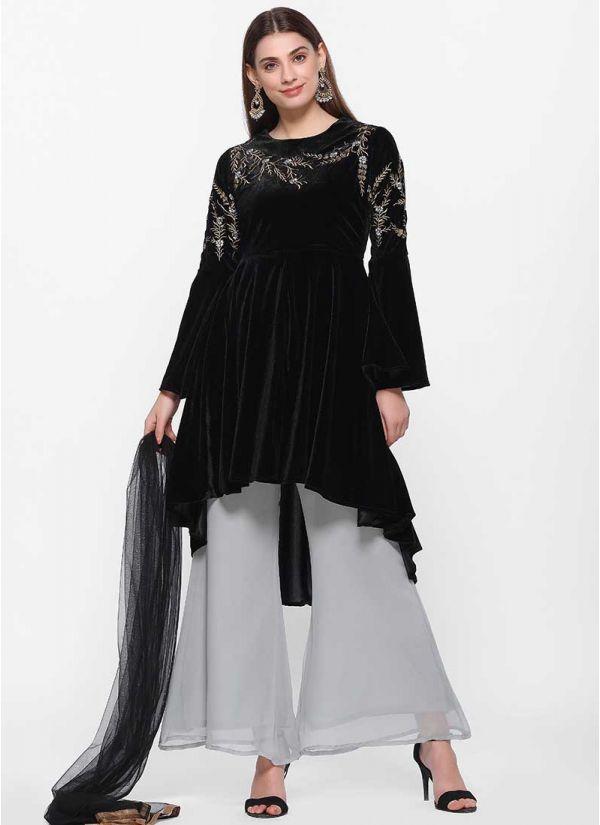 Velvet Threaded Zari Dress