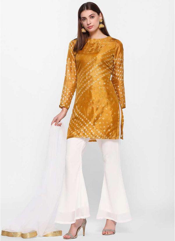 Bandhani Mustard Shift Dress