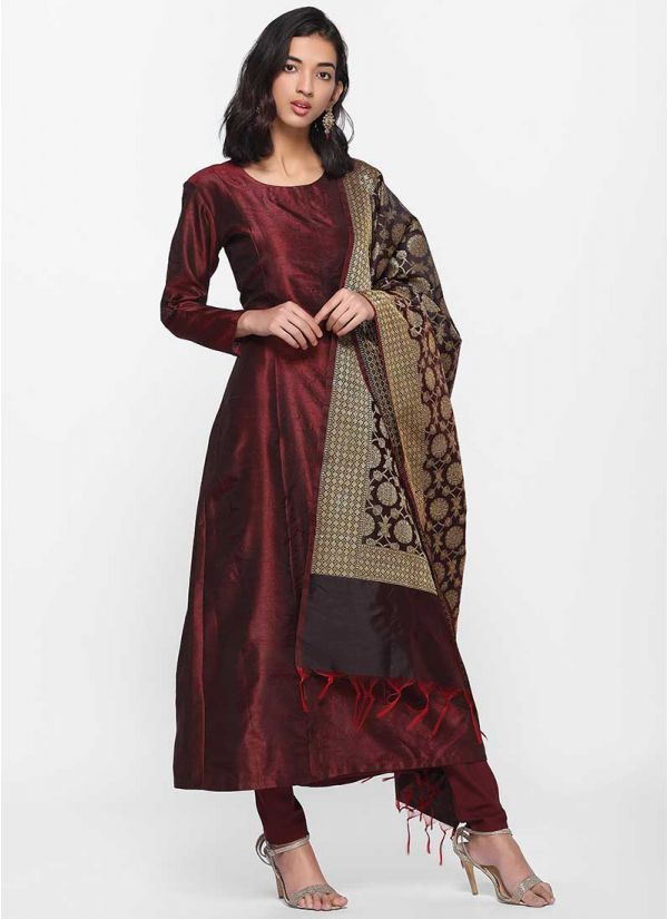 Regal Plum Banarasi Dress