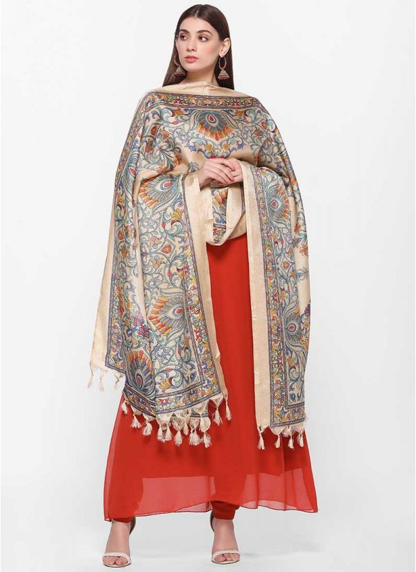 Vibrant Printed Dupatta Dress