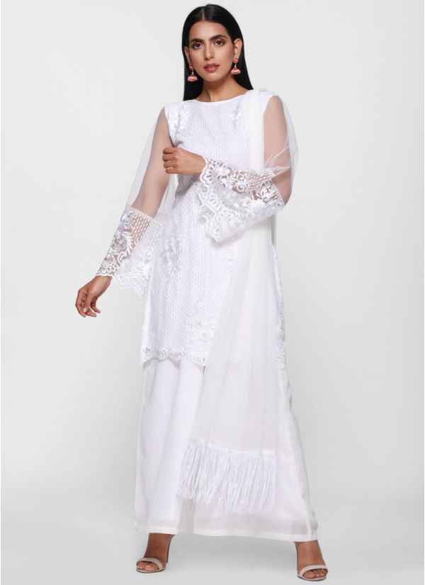 Ethereal Embroidered Palazzo Suit