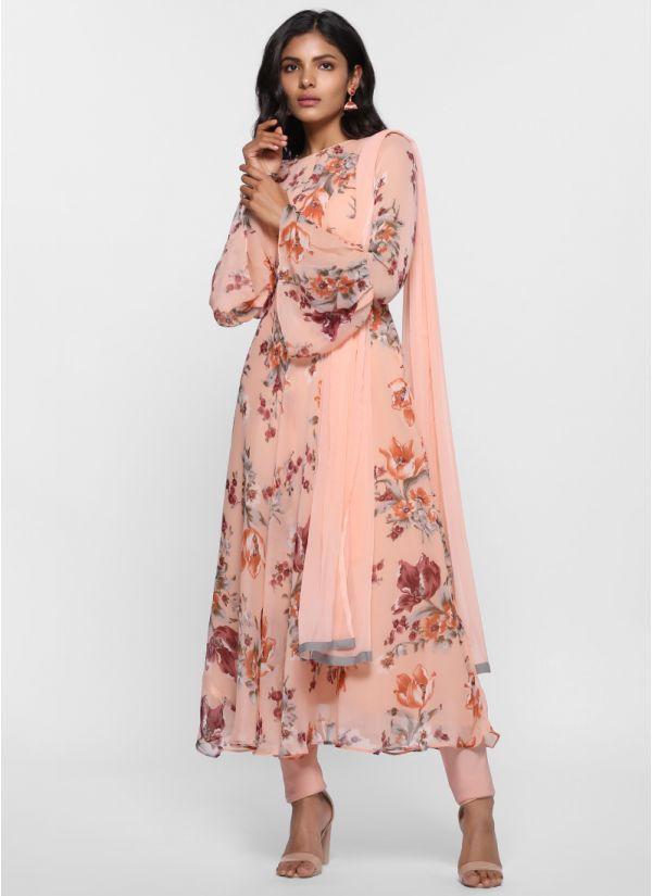 Tonal Floral Print Flow Dress Suit