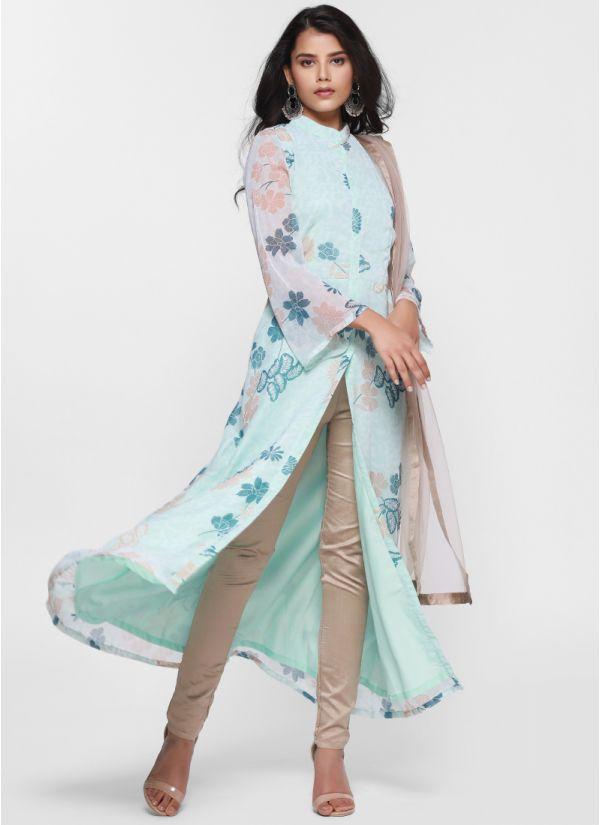 Floral Print Jacket Style Suit Set