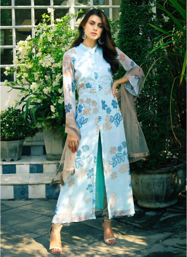 Floral Print Jacket Style Suit Set