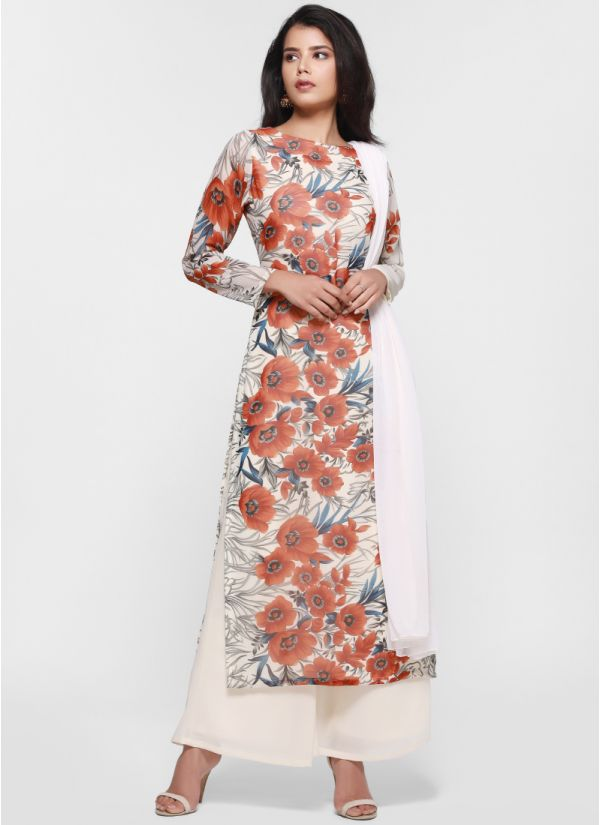 Bold Contrast Floral Straight Suit