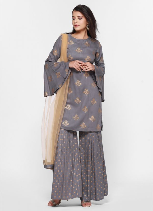 Khadi Print On Print  Gharara Set