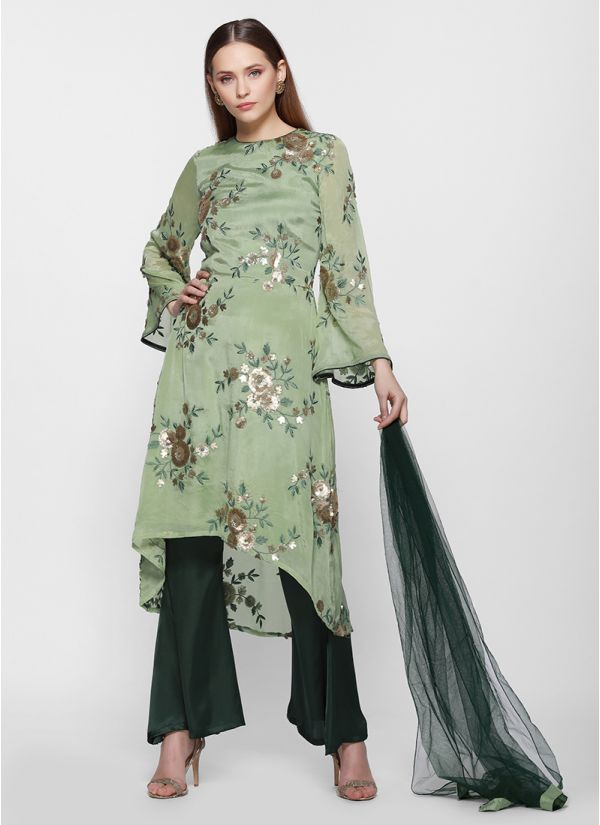 Floral Embroidered Bootleg Suit