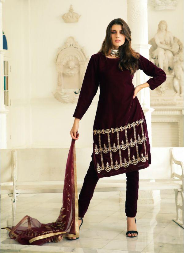 Regal Zari Embroidered Velvet Suit