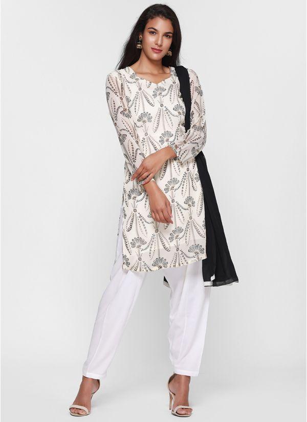 Contrast Print Salwar Suit