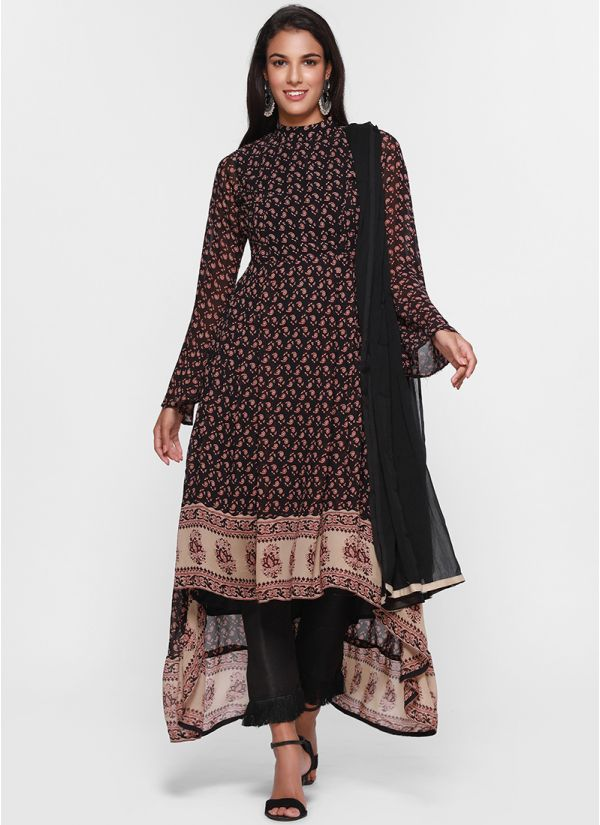 Border Print Asymmetric Suit
